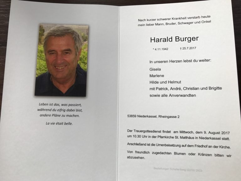 Trauer um Harald Burger